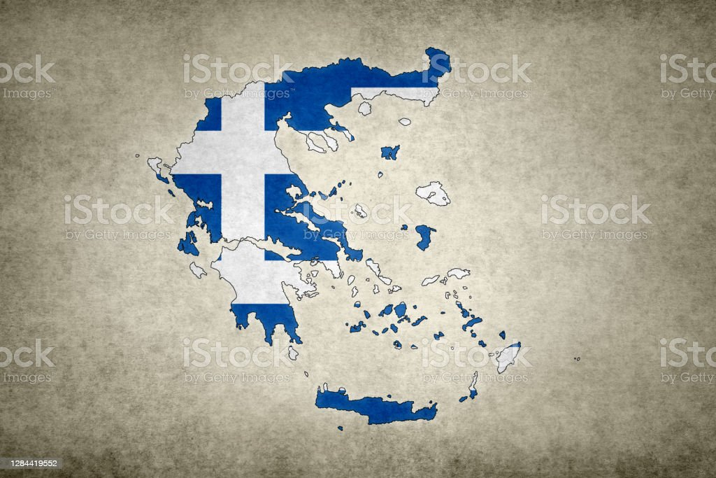 Grunge map of Greece with its flag printed within Grunge map of Greece with its flag printed within its border on an old paper. Abstract Stock Photo