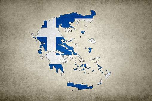 Grunge Map Of Greece With Its Flag Printed Within Stock Photo - Download Image Now