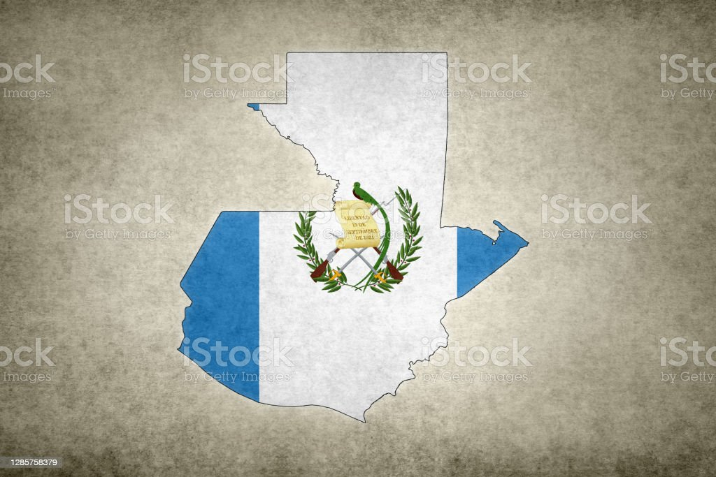 Grunge map of Guatemala with its flag printed within Grunge map of Guatemala with its flag printed within its border on an old paper. Abstract Stock Photo