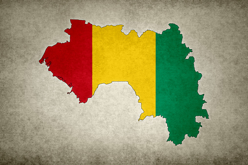 Grunge Map Of Guinea With Its Flag Printed Within Stock Photo - Download Image Now