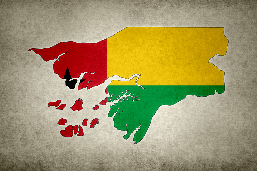 Grunge Map Of Guineabissau With Its Flag Printed Within Stock Photo - Download Image Now