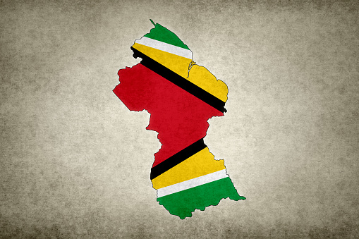 Grunge Map Of Guyana With Its Flag Printed Within Stock Photo - Download Image Now