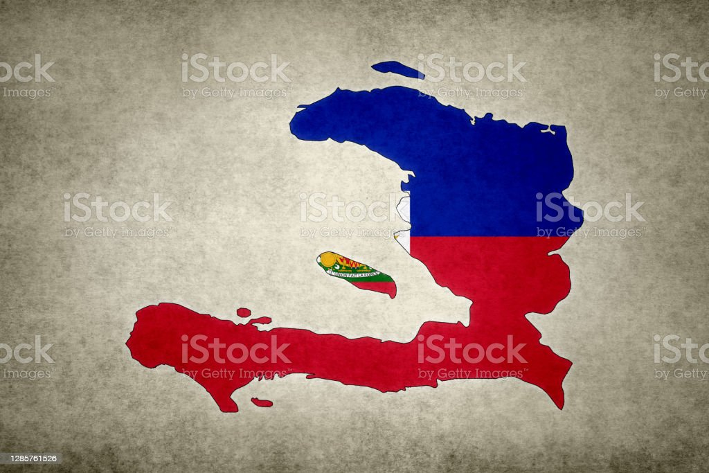 Grunge map of Haiti with its flag printed within Grunge map of Haiti with its flag printed within its border on an old paper. Abstract Stock Photo