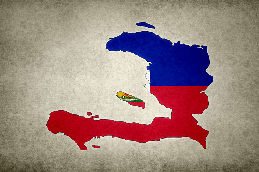 Grunge Map Of Haiti With Its Flag Printed Within Stock Photo - Download Image Now