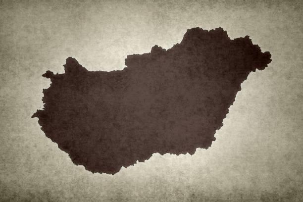 Grunge map of Hungary stock photo