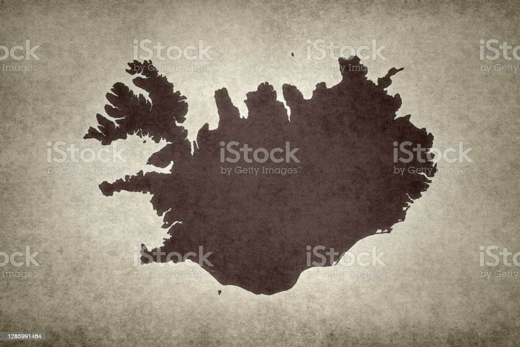Grunge map of Iceland Grunge map of Iceland printed on an old paper. Abstract Stock Photo
