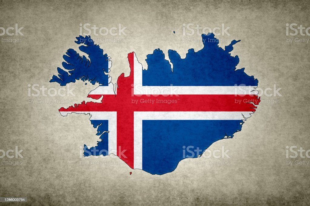 Grunge map of Iceland with its flag printed within Grunge map of Iceland with its flag printed within its border on an old paper. Abstract Stock Photo