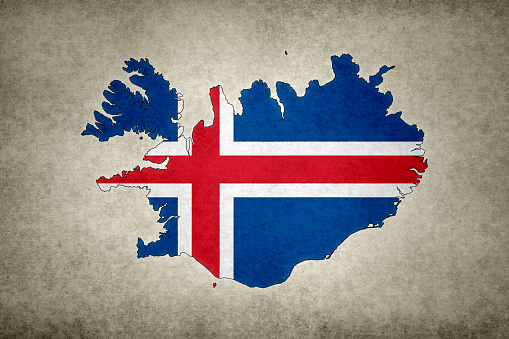 Grunge Map Of Iceland With Its Flag Printed Within Stock Photo - Download Image Now