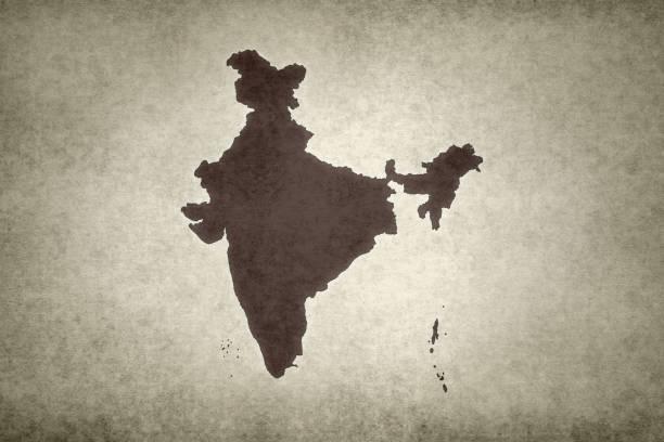 Grunge map of India stock photo