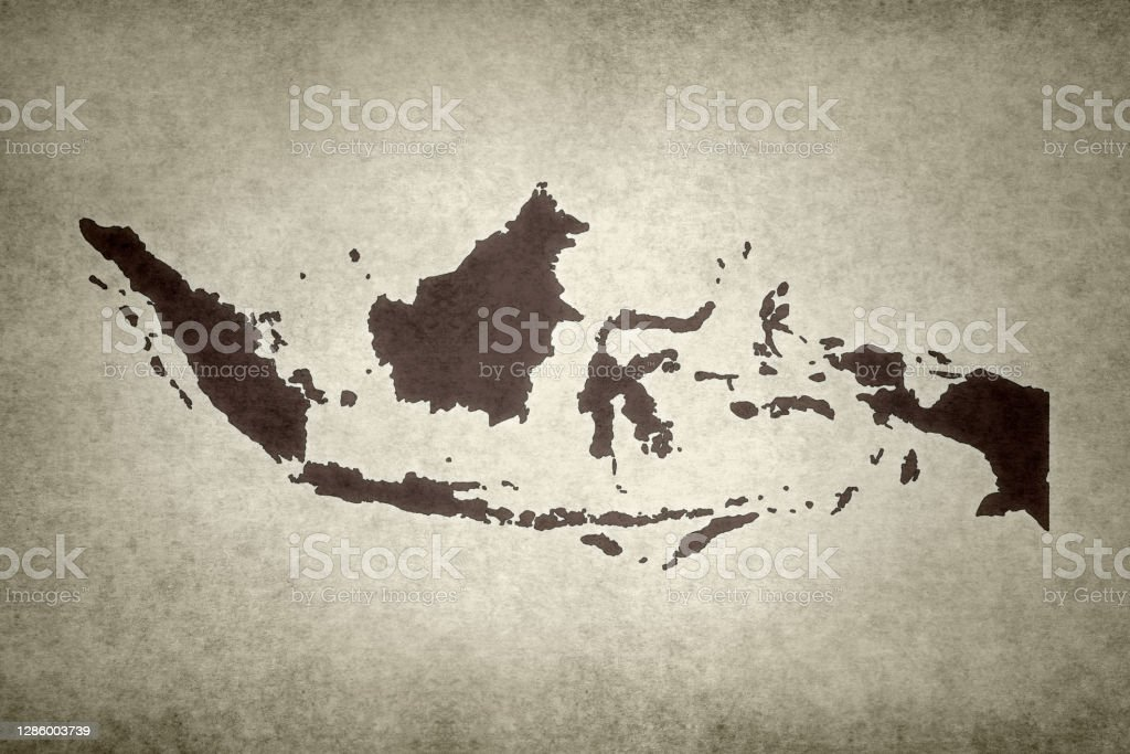 Grunge map of Indonesia Grunge map of Indonesia printed on an old paper. Abstract Stock Photo