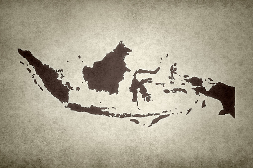 Grunge Map Of Indonesia Stock Photo - Download Image Now