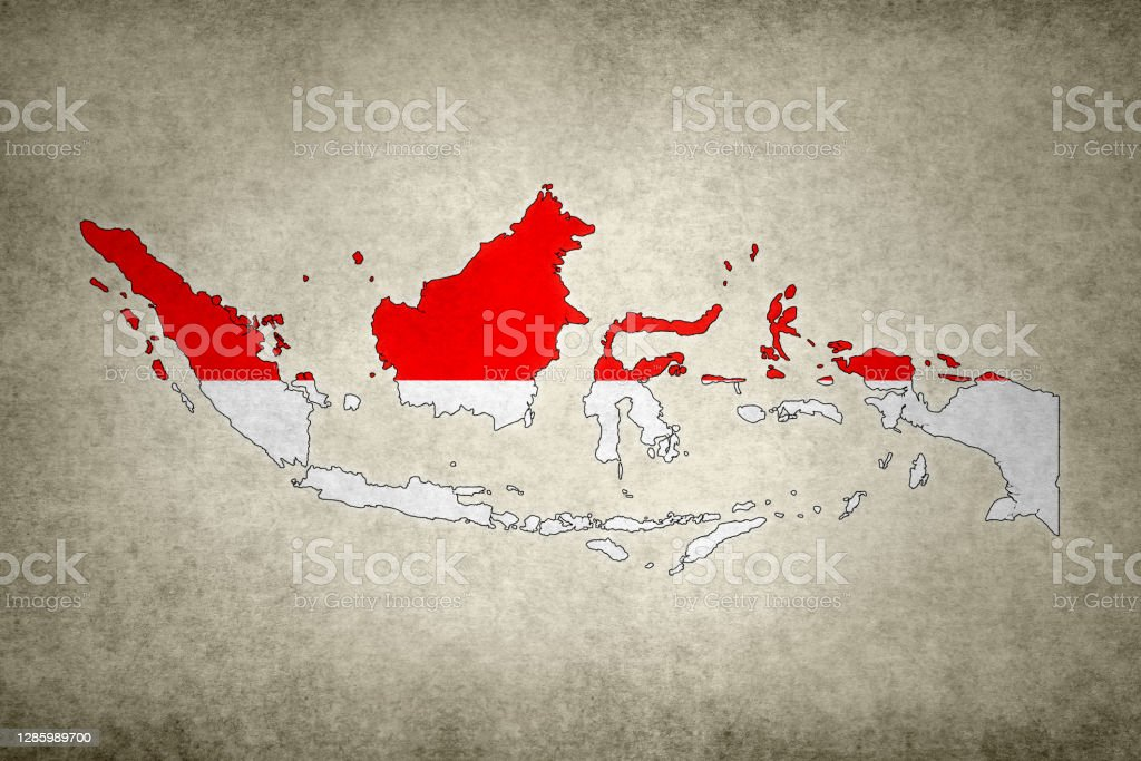 Grunge map of Indonesia with its flag printed within Grunge map of Indonesia with its flag printed within its border on an old paper. Abstract Stock Photo