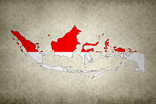 Grunge Map Of Indonesia With Its Flag Printed Within Stock Photo - Download Image Now