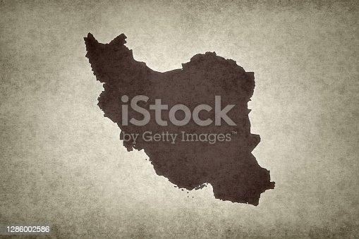 Grunge map of Iran printed on an old paper.
