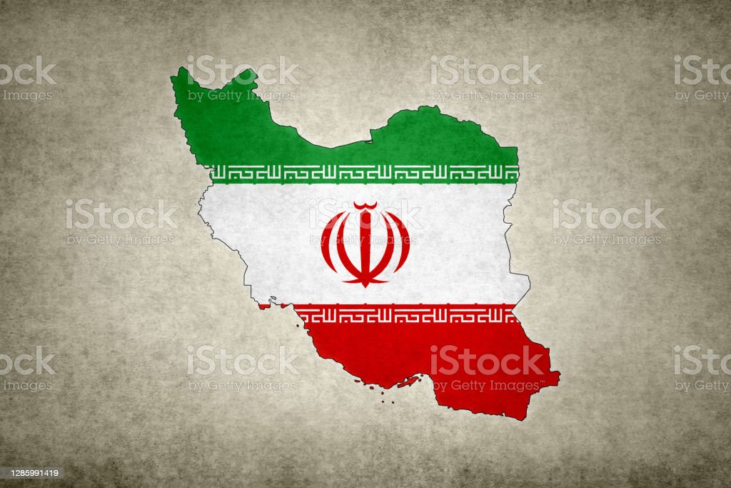Grunge map of Iran with its flag printed within Grunge map of Iran with its flag printed within its border on an old paper. Abstract Stock Photo