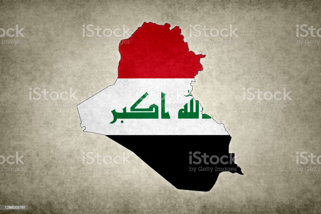 Grunge map of Iraq with its flag printed within Grunge map of Iraq with its flag printed within its border on an old paper. Abstract Stock Photo