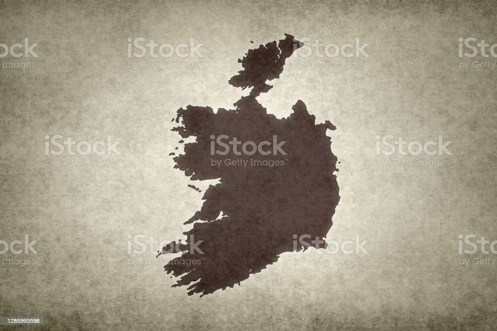 Grunge map of Ireland Grunge map of Ireland printed on an old paper. Abstract Stock Photo