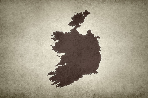 Grunge Map Of Ireland Stock Photo - Download Image Now