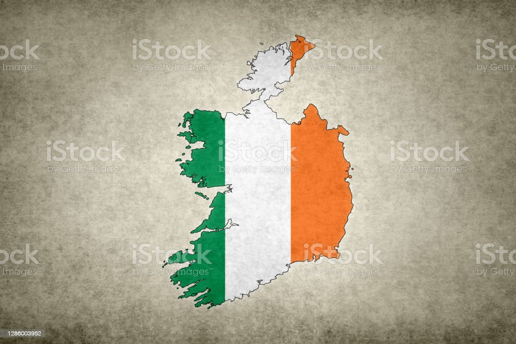 Grunge map of Ireland with its flag printed within Grunge map of Ireland with its flag printed within its border on an old paper. Abstract Stock Photo
