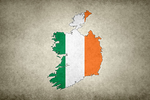 Grunge Map Of Ireland With Its Flag Printed Within Stock Photo - Download Image Now