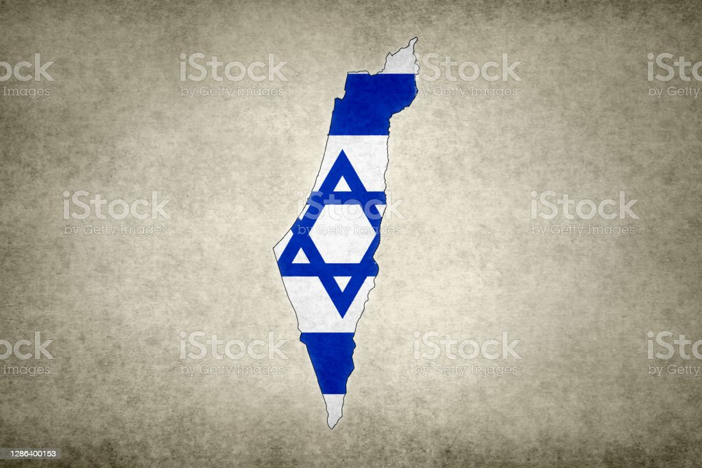 Grunge map of Israel with its flag printed within Grunge map of Israel with its flag printed within its border on an old paper. Abstract Stock Photo