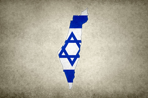 Grunge Map Of Israel With Its Flag Printed Within Stock Photo - Download Image Now