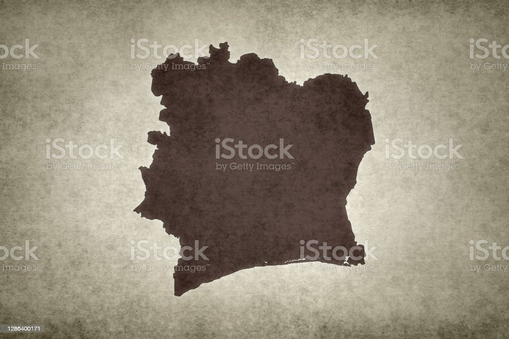 Grunge map of Ivory Coast Grunge map of Ivory Coast printed on an old paper. Abstract Stock Photo