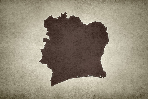 Grunge Map Of Ivory Coast Stock Photo - Download Image Now