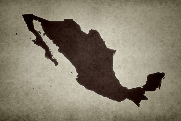 Grunge map of Mexico stock photo