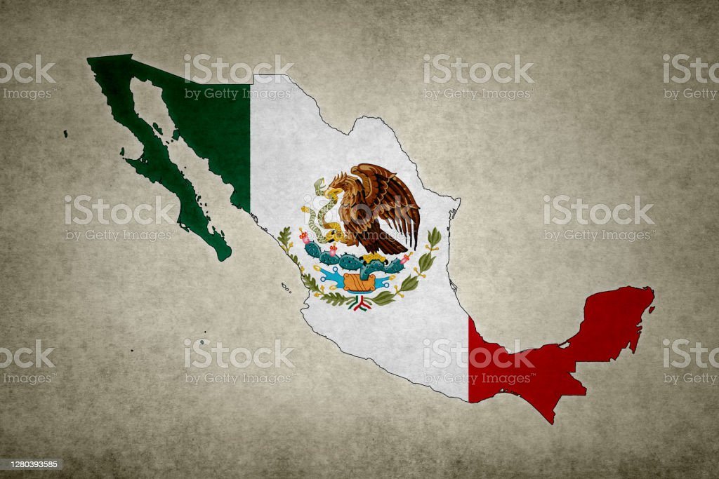 Grunge map of Mexico with its flag printed within Grunge map of Mexico with its flag printed within its border on an old paper. Abstract Stock Photo