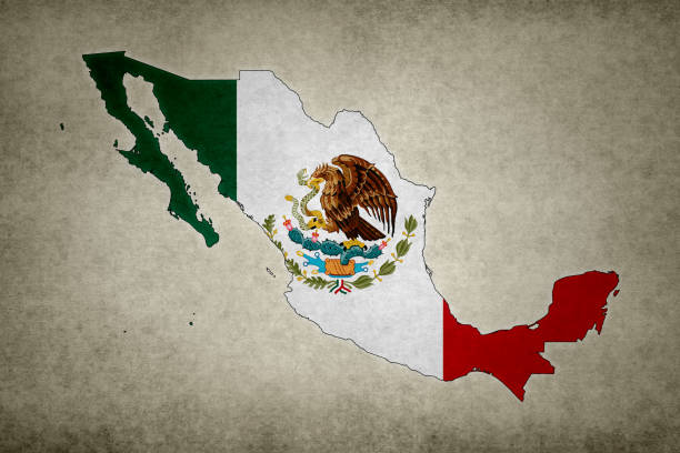 Grunge map of Mexico with its flag printed within stock photo