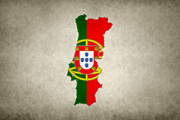 Grunge map of Portugal with its flag printed within stock photo