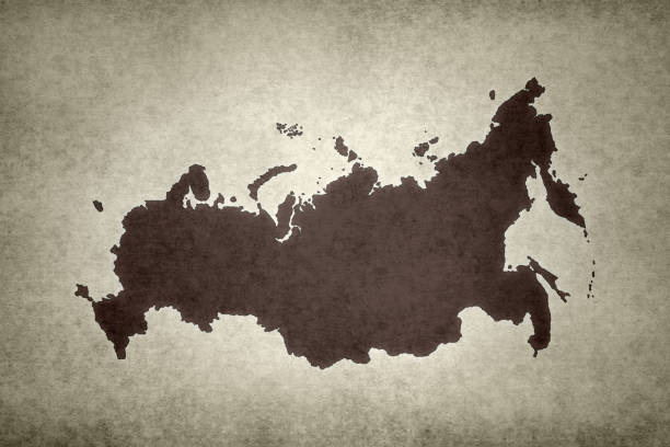 Grunge map of Russia stock photo
