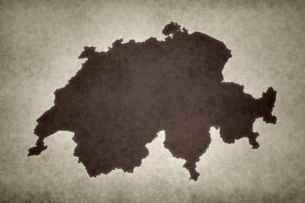 Grunge map of Switzerland stock photo