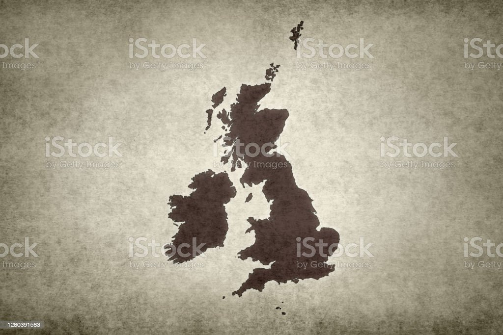 Grunge map of the British Isles Grunge map of the British Isles printed on an old paper. Abstract Stock Photo