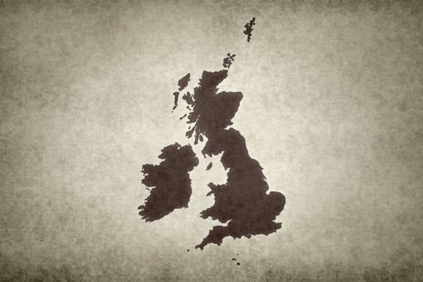 Grunge map of the British Isles stock photo