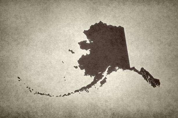 Grunge map of the state of Alaska stock photo