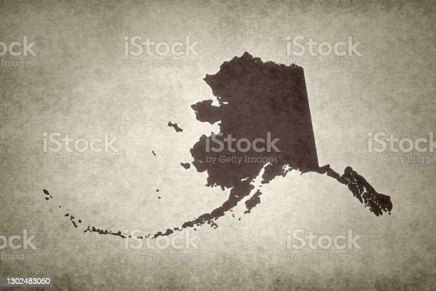 Grunge Map Of The State Of Alaska Stock Photo - Download Image Now
