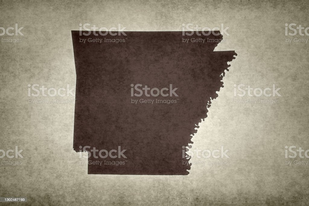 Grunge map of the state of Arkansas Grunge map of the state of Arkansas (USA) printed on an old paper. Abstract Stock Photo
