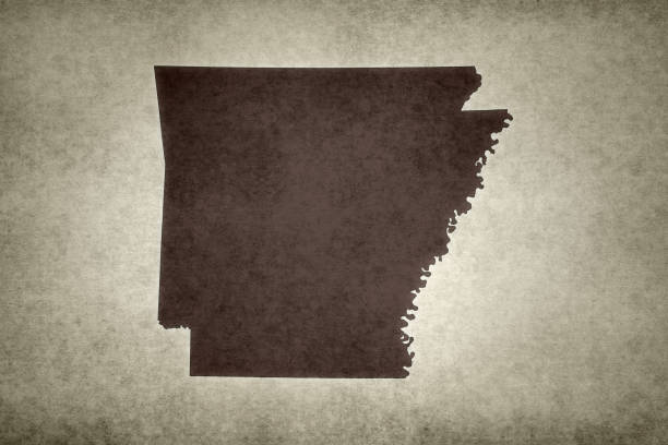 Grunge map of the state of Arkansas stock photo