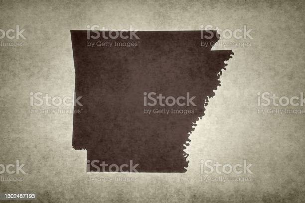 Grunge Map Of The State Of Arkansas Stock Photo - Download Image Now