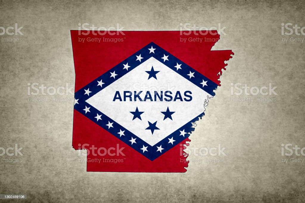 Grunge map of the state of Arkansas with its flag printed within Grunge map of the state of Arkansas (USA) with its flag printed within its border on an old paper. Abstract Stock Photo