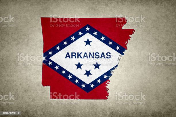 Grunge Map Of The State Of Arkansas With Its Flag Printed Within Stock Photo - Download Image Now