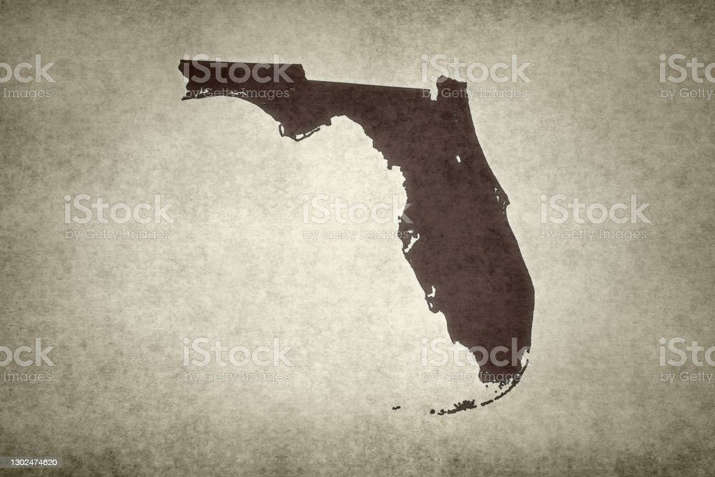 Grunge map of the state of Florida Grunge map of the state of Florida (USA) printed on an old paper. Abstract Stock Photo