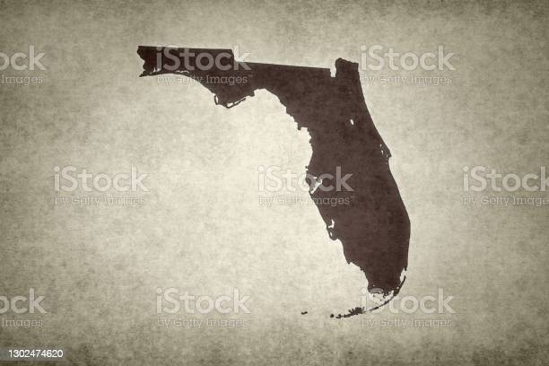 Grunge Map Of The State Of Florida Stock Photo - Download Image Now