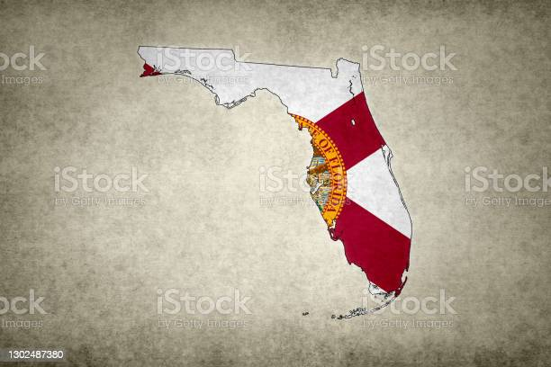 Grunge Map Of The State Of Florida With Its Flag Printed Within Stock Photo - Download Image Now