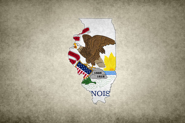 Grunge map of the state of Illinois with its flag printed within stock photo