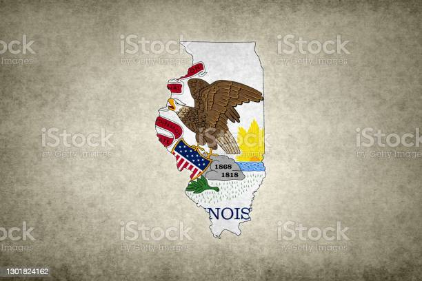 Grunge Map Of The State Of Illinois With Its Flag Printed Within Stock Photo - Download Image Now