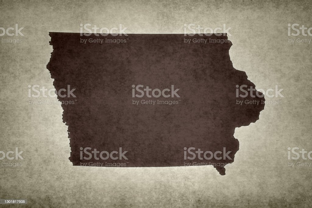 Grunge map of the state of Iowa Grunge map of the state of Iowa (USA) printed on an old paper. Abstract Stock Photo