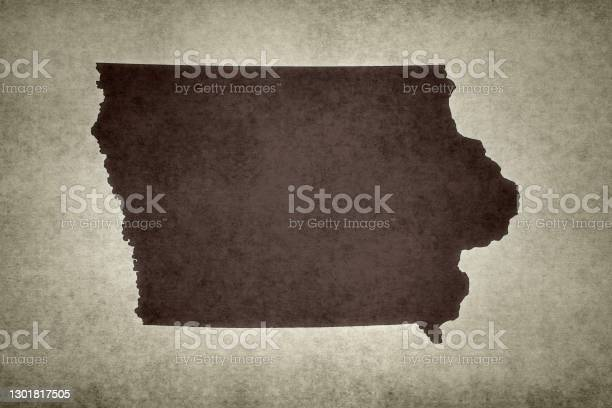 Grunge Map Of The State Of Iowa Stock Photo - Download Image Now